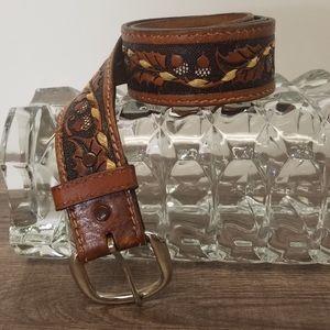 Men's Belt Saddle Leather Tooling 38